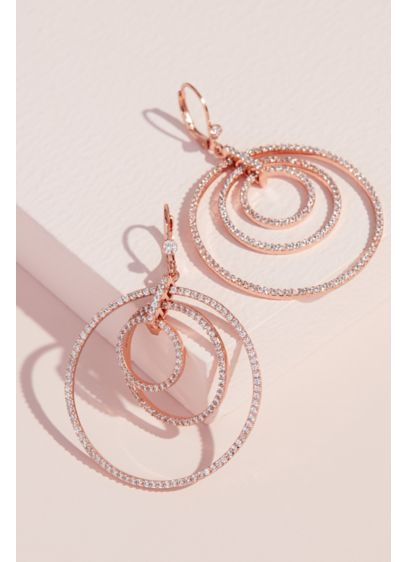 Dangling Concentric Pave Hoop Earrings - Wedding Accessories