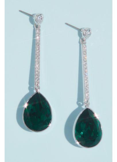Nina Green (Swarovski Crystal Pear Bar Drop Earrings)