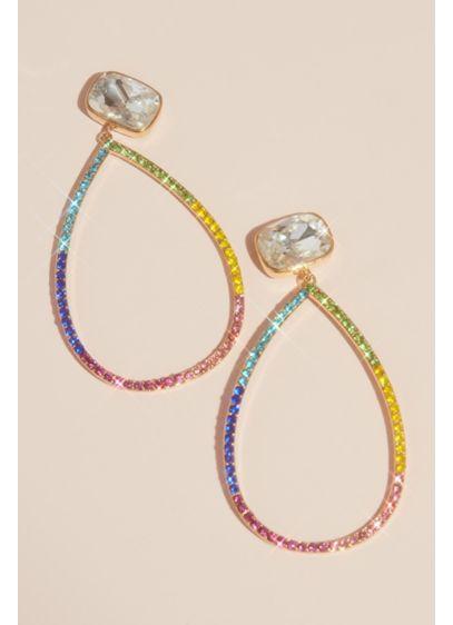 Pave Crystal Open Teardrop Statement Earrings - Wedding Accessories