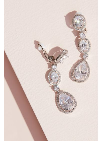 Haloed Cubic Zirconia Drop Clip-On Earrings - Extraordinary and elegant, this pair of clip-on earrings
