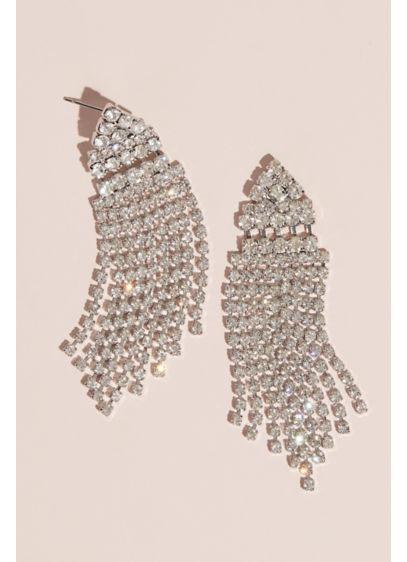 Cubic Zirconia Drop Earrings with Cascade Fringe - Wedding Accessories