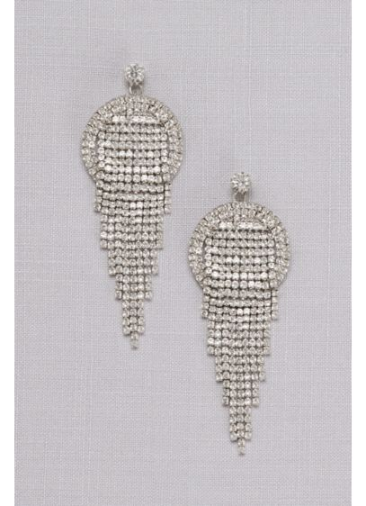 Pave Crystal Waterfall Earrings - Wedding Accessories