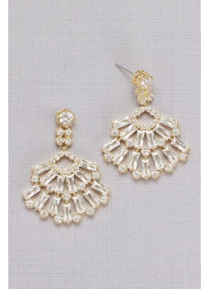 Cubic Zirconia Baguette Fan Earrings - Top off your strapless wedding dress with this