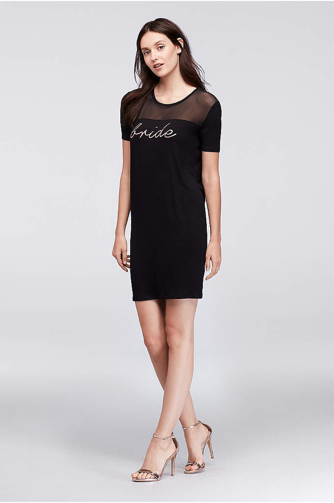 Bride Slinky Jersey Mini Dress - Gleaming rose gold script shows who's the leader