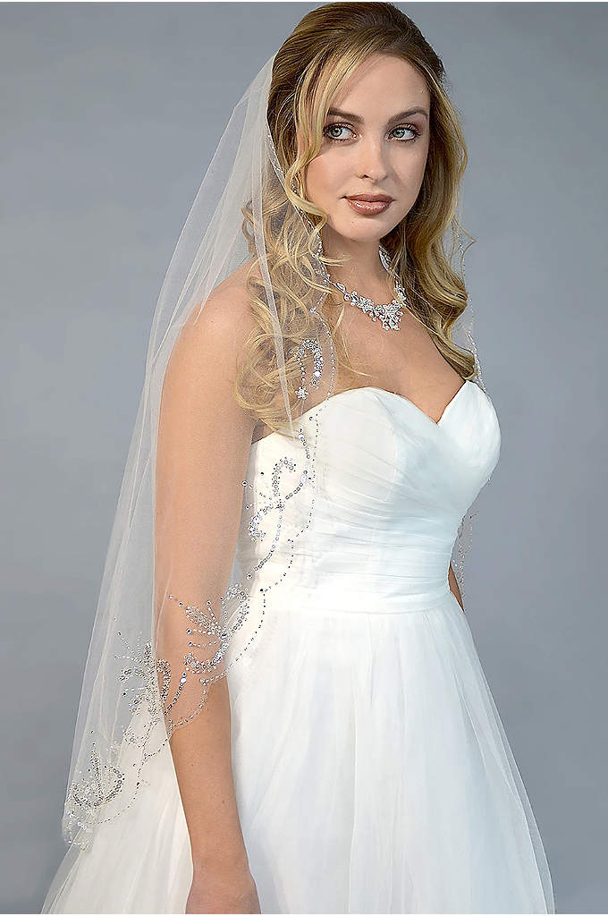 Filigree-Beaded Scalloped-Edge Fingertip Veil - A filigree spray of sequins and beads adds