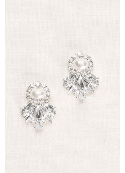 David's Bridal Grey (Art Deco Crystal and Pearl Earrings)