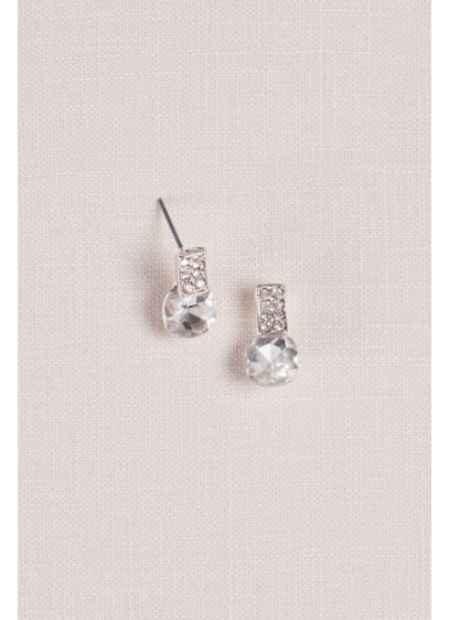 Pave and Solitaire Post Earrings - Wedding Accessories