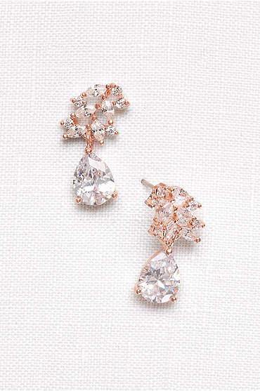 Cubic Zirconia Petals Pear Drop Earrings
