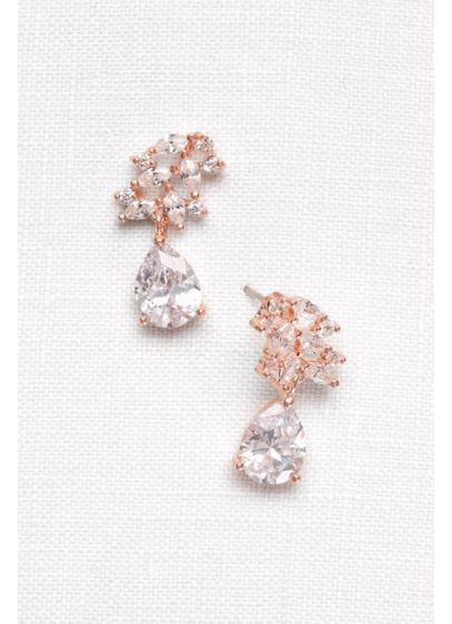 David's Bridal Pink (Cubic Zirconia Petals Pear Drop Earrings)