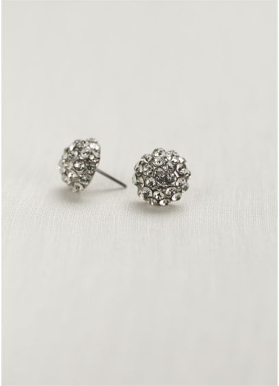 Pave Crystal Ball Earring - Wedding Accessories