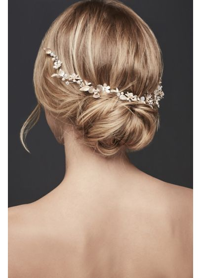 Multi-Tone Flower and Crystal Hair Vine - Wedding Accessories