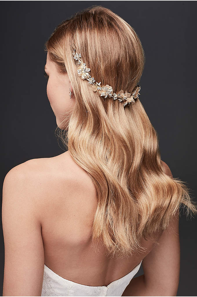 Fabric Petal Hair Vine with Crystals - Fabric petals with crystal leaves adorn this flexible