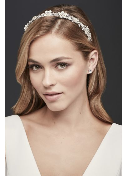 Flower Crown Headband with Crystals - Wedding Accessories