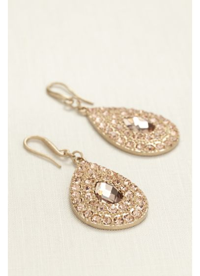 Large Pave Tear Drop Earrings - Wedding Accessories