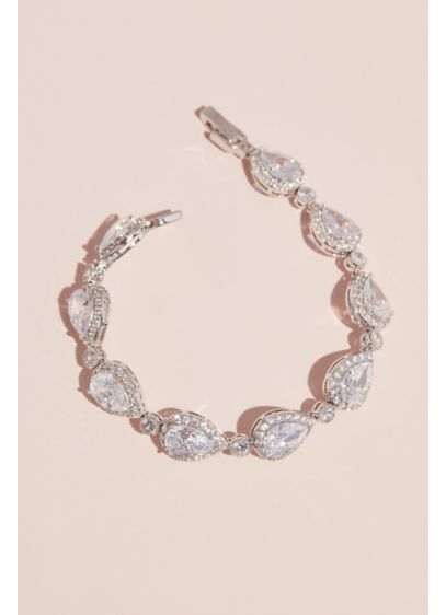 Pave Outlined Teardrop Crystal Bracelet - Gorgeous on its own or paired with other