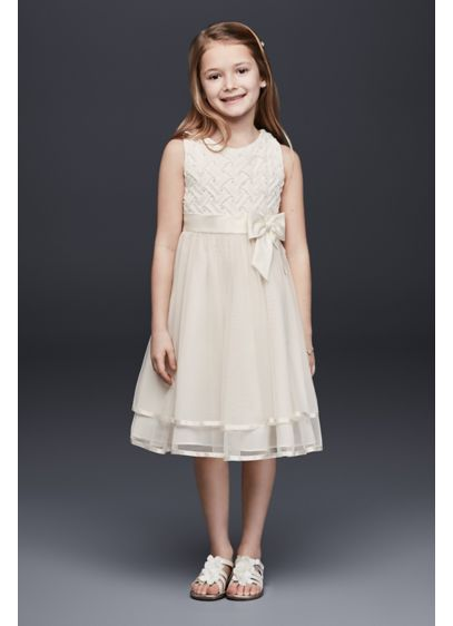 Lattice Bodice Dress with Tiered Tulle Skirt - A pretty mix of textures for the littlest