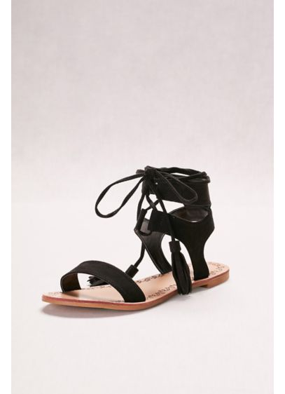 Qupid Beige (Suede Lace-Up Sandals with Tassels)