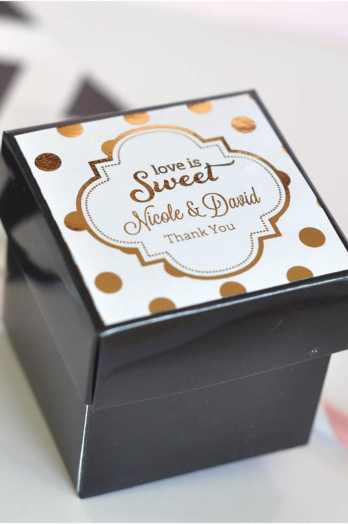 Personalized Metallic Foil Cube Boxes Set of 12 - Glamorize your table tops with these Personalized Metallic