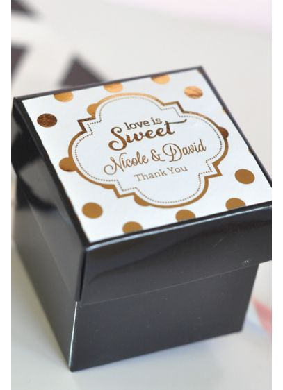 (Personalized Metallic Foil Cube Boxes Set of 12)
