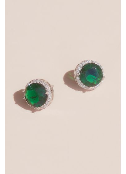 David's Bridal Blue (Pave Halo and Gemstone Stud Earrings)