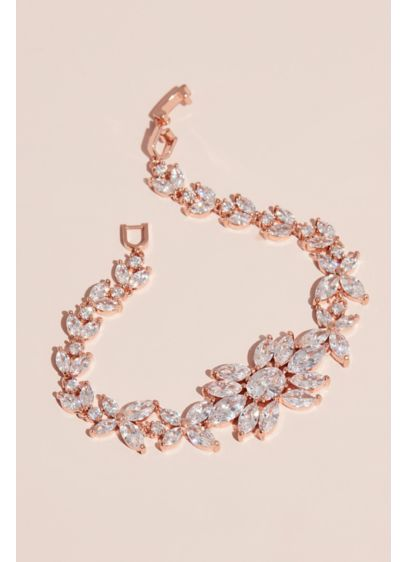 Blooming Marquise-Cut Crystal Floral Bracelet - A large flower, with petals of marquise-cut crystals,