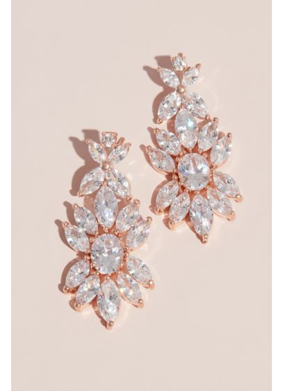 Blooming Marquise-Cut Crystal Drop Floral Earrings - A large flower, with petals of marquise-cut crystals,