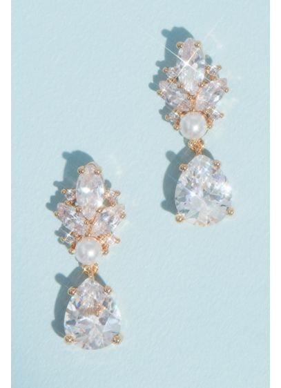 Marquise and Pear Crystal and Pearl Drop Earrings - These elegant earrings mix marquise-cut crystals, a classic