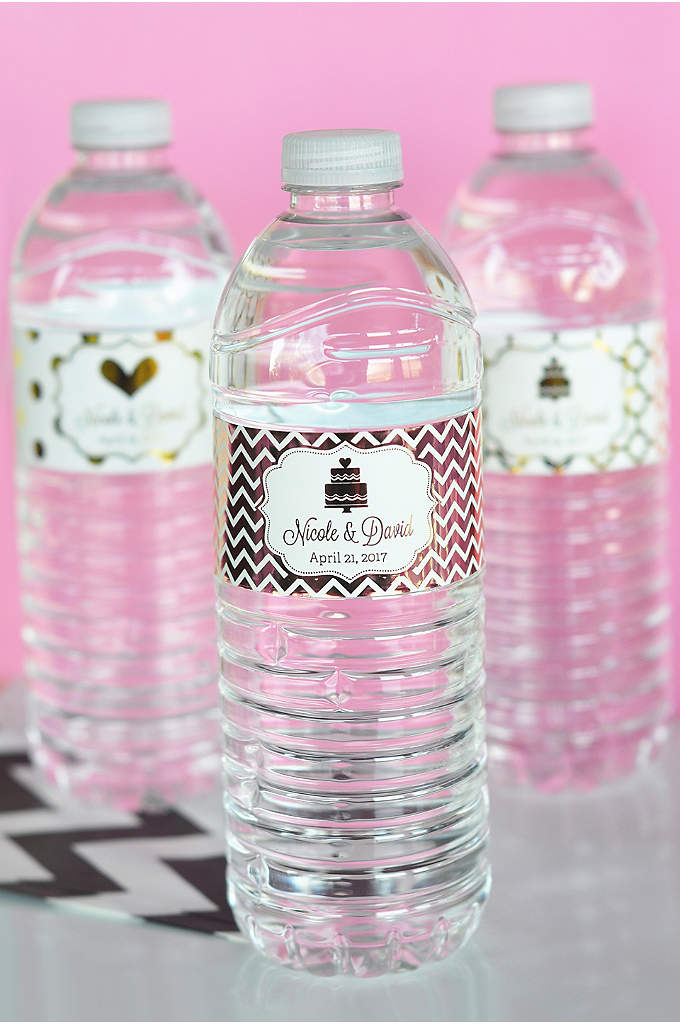 Personalized Metallic Foil Water Bottle Labels - Dress up plain water bottles by wrapping them