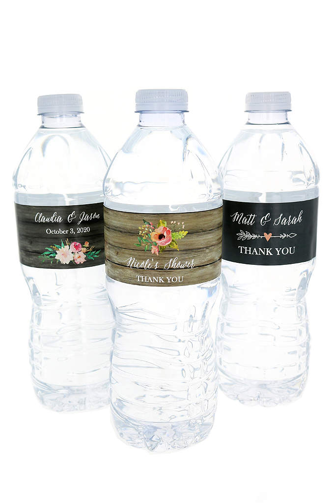Personalized Floral Garden Water Bottle Labels - Dress up plain water bottles with a chic