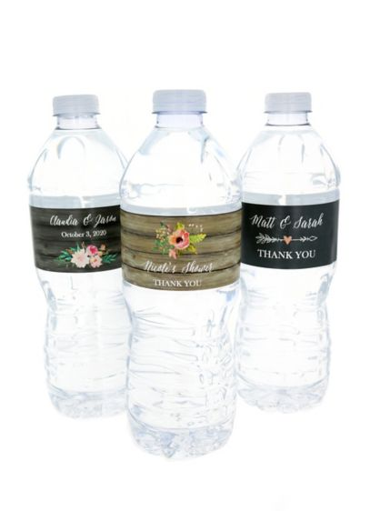 Personalized Floral Garden Water Bottle Labels David S Bridal
