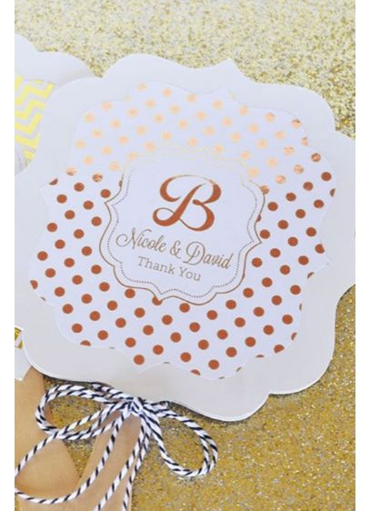 Personalized Metallic Foil Paddle Fans - Wedding Gifts & Decorations