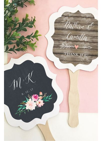 Personalized Floral Garden Paddle Fans - Personalized Floral Garden Paddle Fans make practical favors