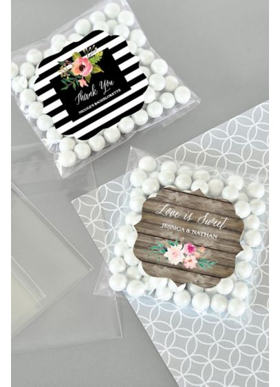 Personalized Floral Garden Candy Bags Set of 24 - Personalized Floral Garden Clear Candy Bags can be