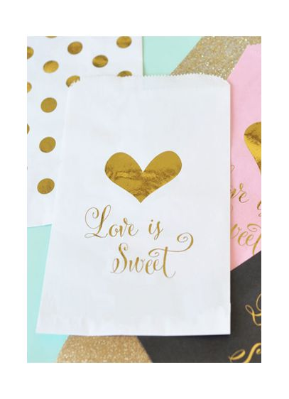 Love is Sweet Foil Candy Buffet Bags Set of 12 - Wedding Gifts & Decorations