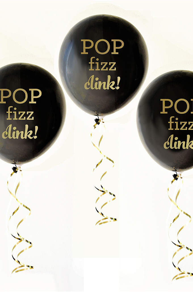 Black and Gold Pop Fizz Clink Balloons Set - Black and Gold Pop Fizz Clink Balloons are