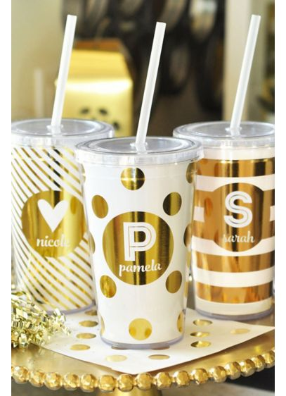 Personalized Metallic Foil Tumbler - Wedding Gifts & Decorations