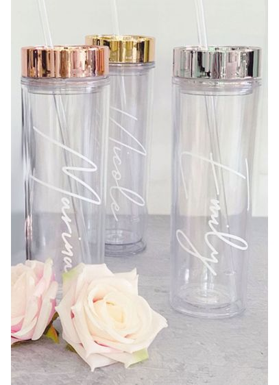 Personalized Script Tumbler with Straw - A perfect gift for bridesmaids and more, this