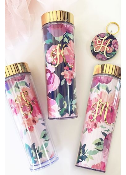 Personalized Floral Skinny Tumbler - Wedding Gifts & Decorations