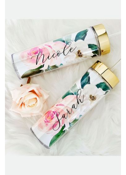 Personalized Spring Rose Tall Tumblers - Keep your maids hydrated on the big day
