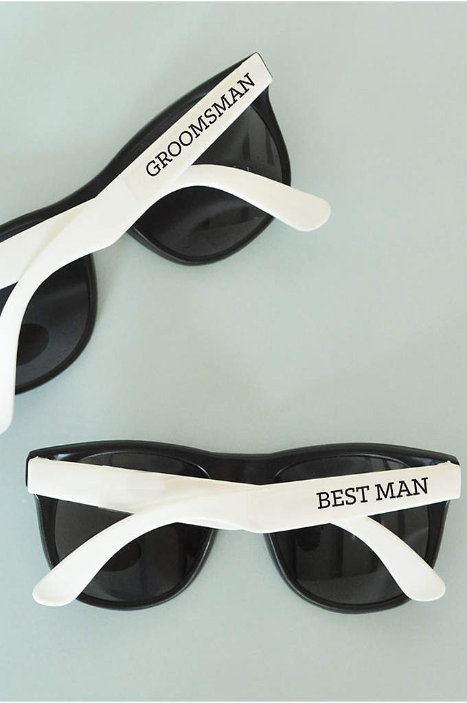White Groom and Groomsmen Sunglasses Set of 6 - Be the hottest groomsmen at your wedding with