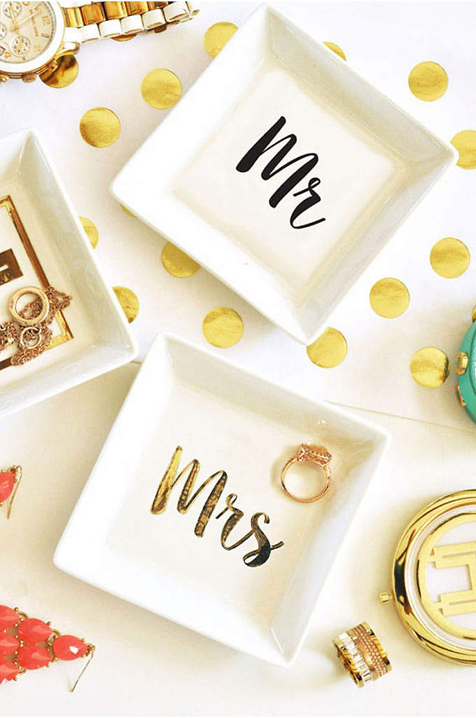 Mr and Mrs White Ring Dish - These ring dishes are a perfect engagement gift!