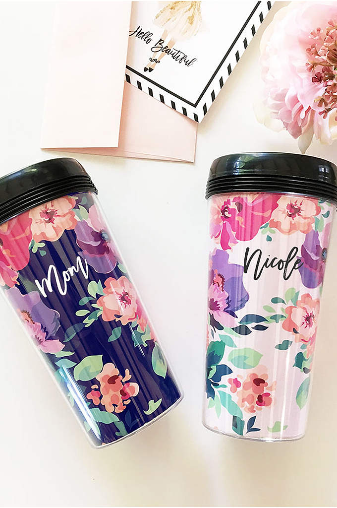 Personalized Floral Traveling Coffee Tumbler - Perfect for the coffee lover, this Personalized Floral