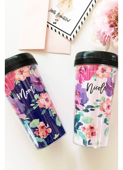 Personalized Floral Traveling Coffee Tumbler - Wedding Gifts & Decorations