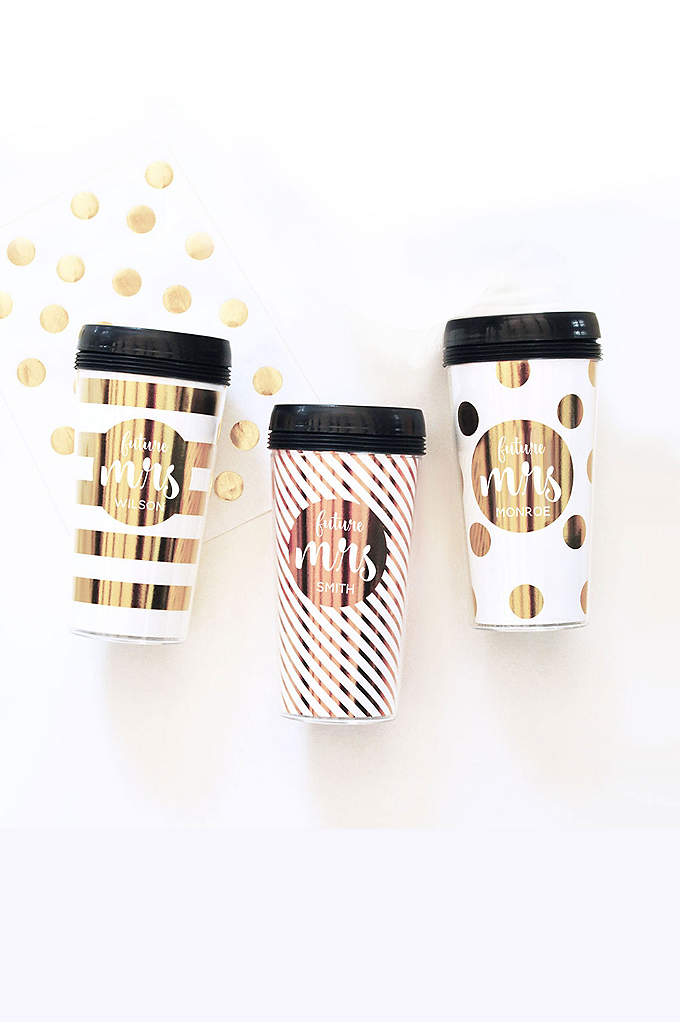 Personalized Future Mrs Travel Coffee Mug - These customized wedding metallic gold travel coffee mugs