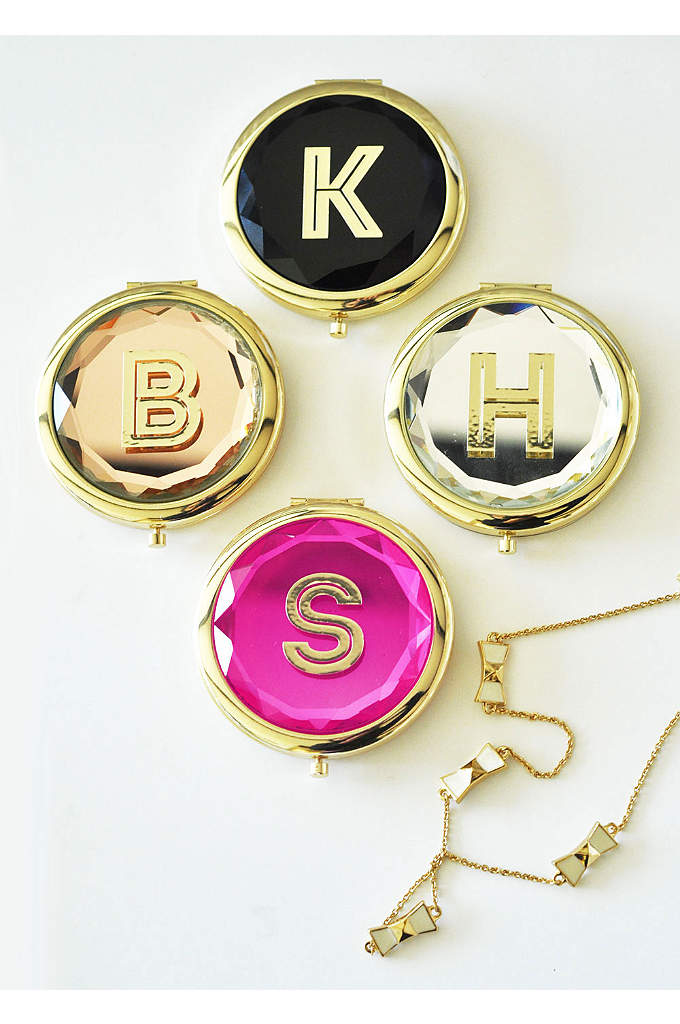 Personalized Gold Monogram Compact Mirror - Personalized Gold Monogram Compact Mirrors are a unique