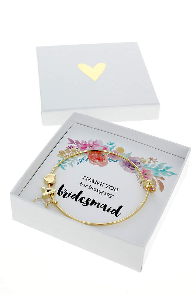 Personalized Gold Floral Bridal Party Bracelets - Gold Monogram Floral Bridal Party Bracelets feature a