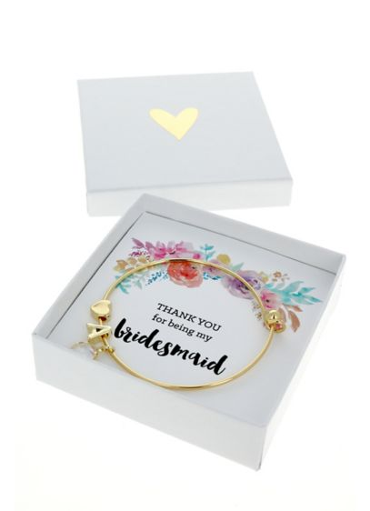 Personalized Gold Floral Bridal Party Bracelets - Wedding Gifts & Decorations