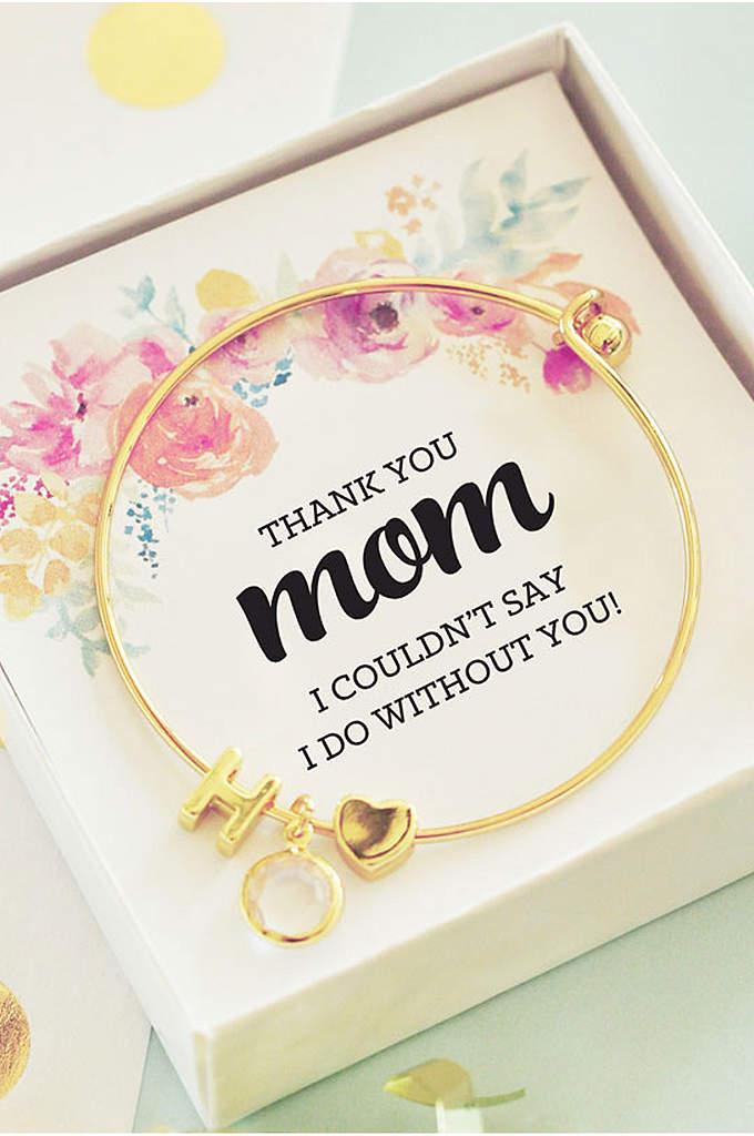 Personalized Gold Monogram Floral Mom Bracelet - Gold Monogram Floral Mom Bracelets feature a monogram