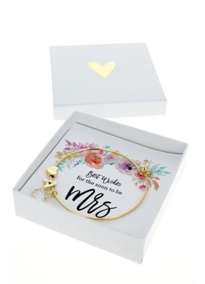 Personalized Gold Monogram Floral Mrs Bracelet - Gold Monogram Floral Mrs Bracelet features a monogram