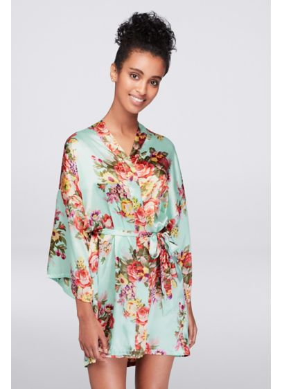 Floral Satin Robe - This soft satin robes features a gorgeous floral
